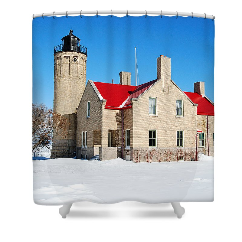 Old Mackinac Point Shower Curtain featuring the photograph The Old Mackinac Point Lighthouse by Michael Peychich