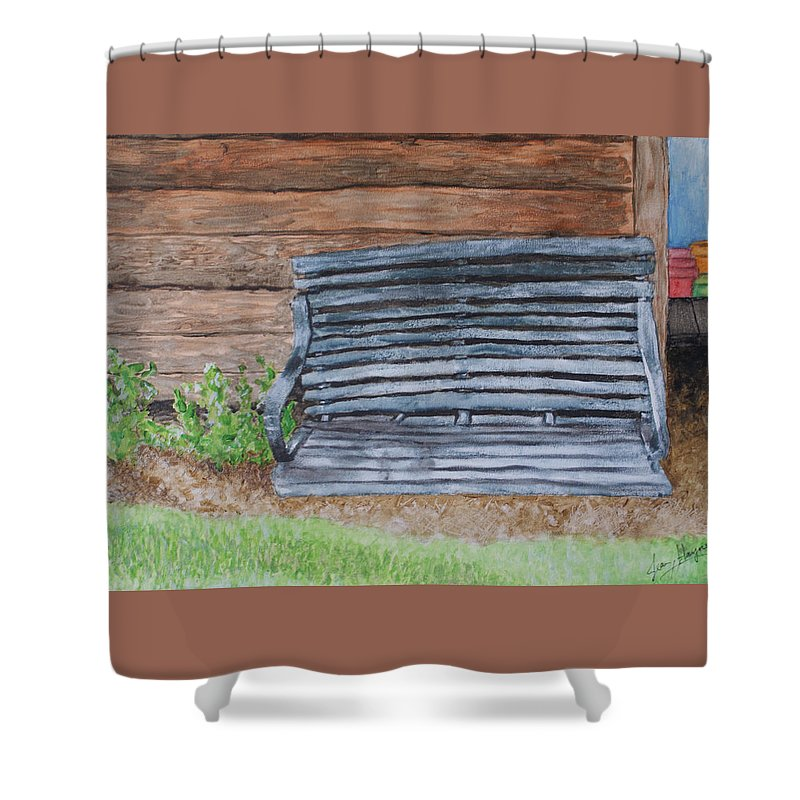 Shed Shower Curtain featuring the painting The Old Porch Swing by Jean Haynes