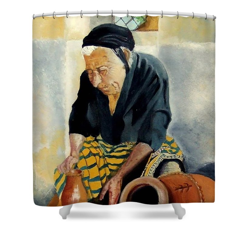 Old People Shower Curtain featuring the painting The Old Potter by Jane Simpson