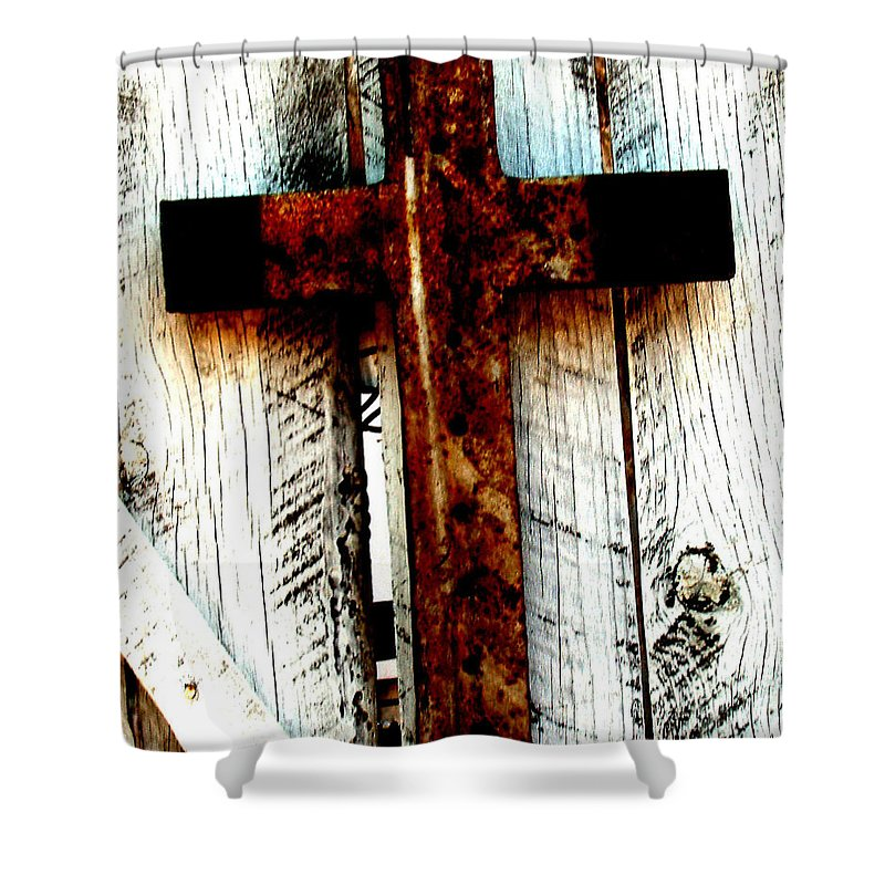 Cross Shower Curtain featuring the photograph The Old Rusted Cross by Wayne Potrafka