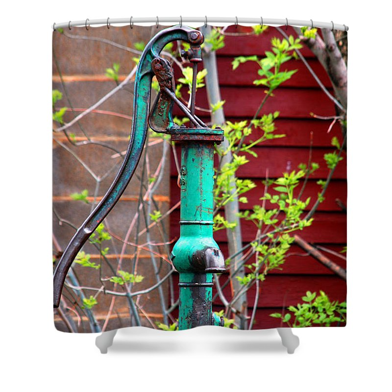 Photography Shower Curtain featuring the photograph The Old Rusty Water Pump by Susanne Van Hulst
