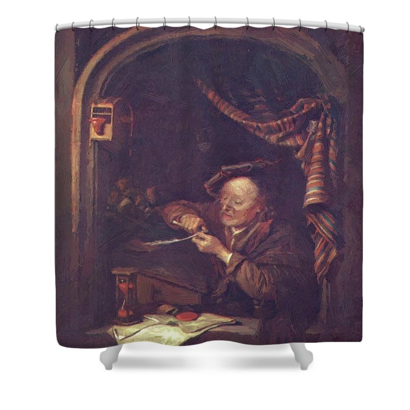 The Shower Curtain featuring the painting The Old Schoolmaster 1671 by Dou Gerrit