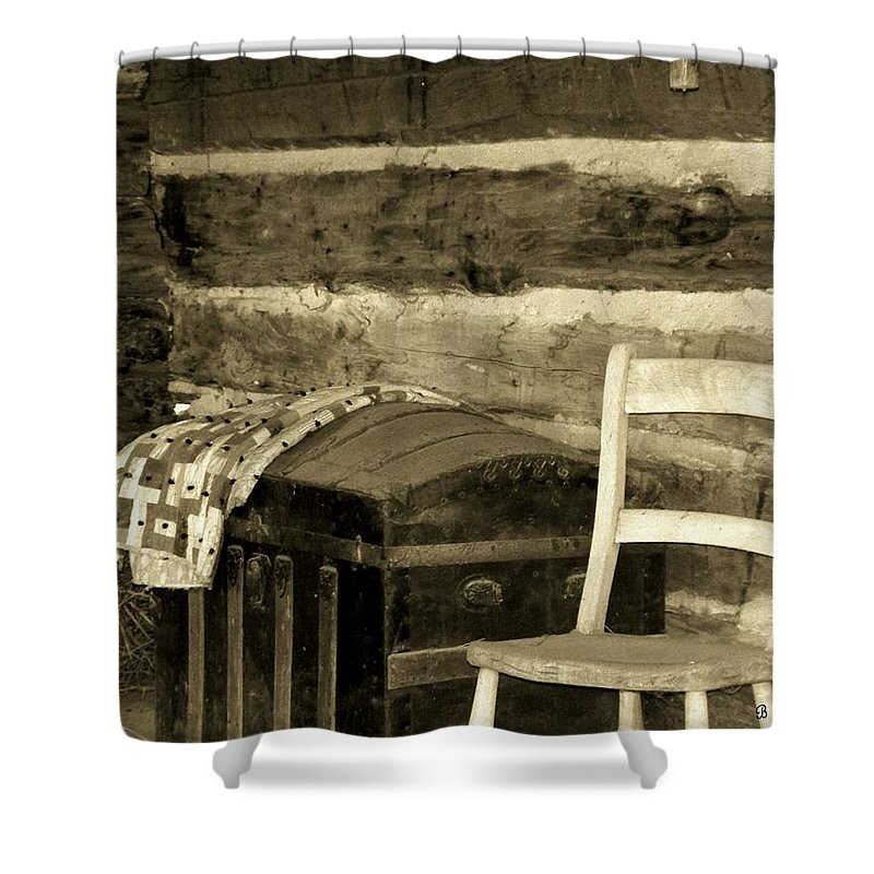 Trunk Shower Curtain featuring the photograph The Old Trunk by Betty Northcutt