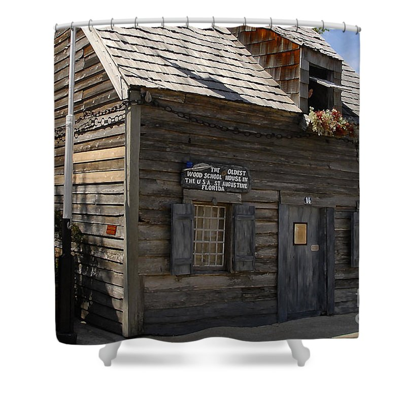 Saint Augustine Florida Shower Curtain featuring the photograph The Oldest School House by David Lee Thompson