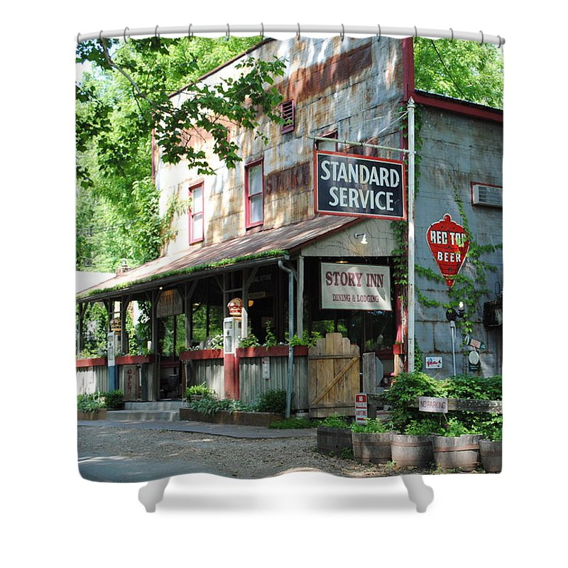 Standard Shower Curtain featuring the photograph The Ole Gas Station by Jost Houk
