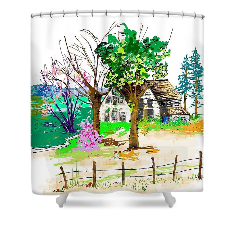 Landscape. Architecture. House. Shower Curtain featuring the digital art The Ole House In Spring by Debbi Saccomanno Chan