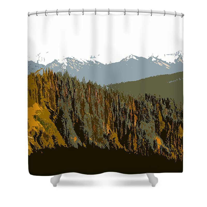Olympic Mountains Shower Curtain featuring the painting The Olympic Mountains by David Lee Thompson