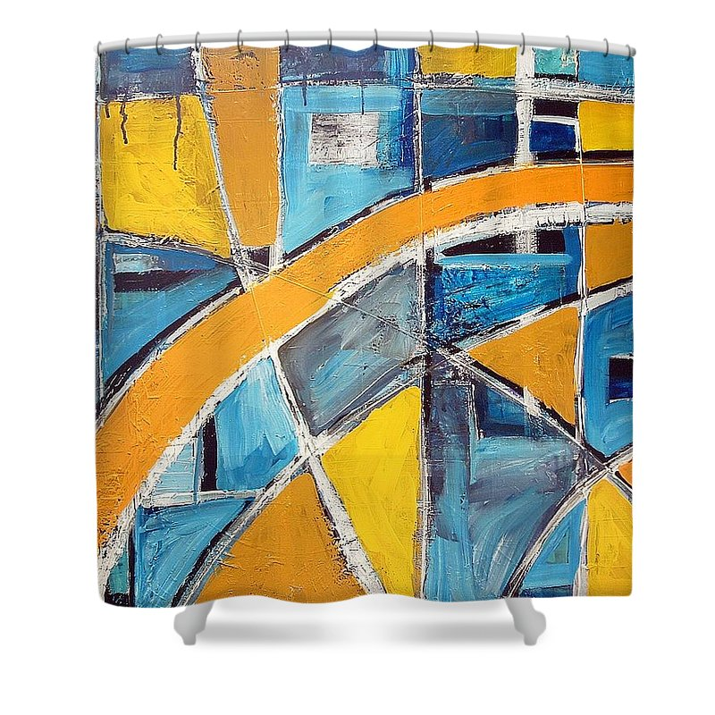 Abstract Shower Curtain featuring the painting The Open Window by Kathy Augustine