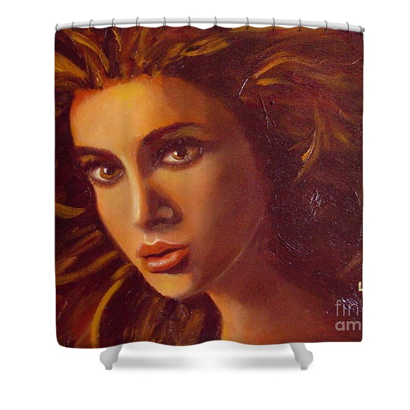 Portrait Shower Curtain featuring the painting The Oracle by Laurie Morgan