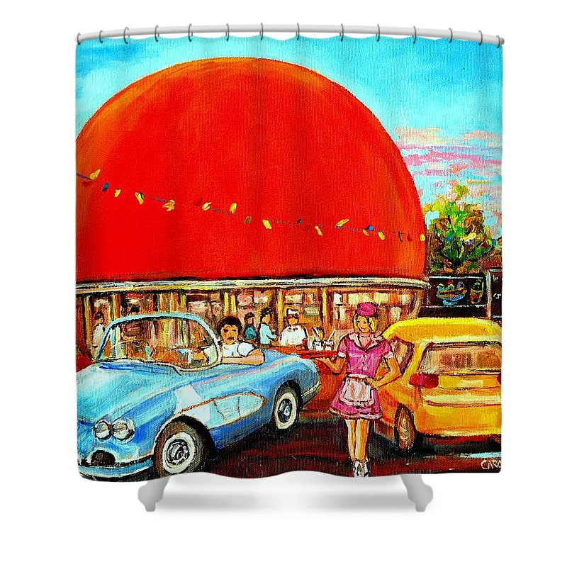 The Orange Julep Montreal Shower Curtain featuring the painting The Orange Julep Montreal by Carole Spandau
