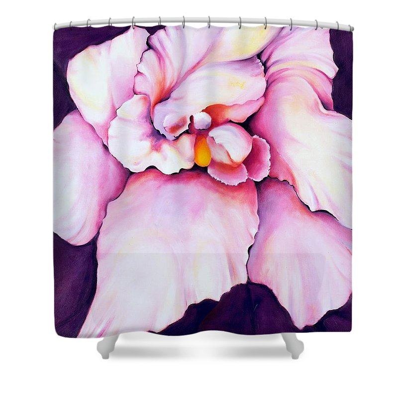 Orcdhid Bloom Artwork Shower Curtain featuring the painting The Orchid by Jordana Sands