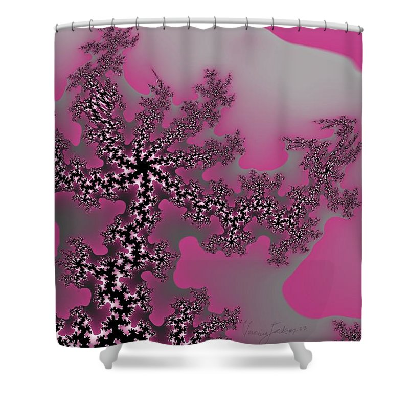 Fractals Tree Nature Oriental Art Shower Curtain featuring the digital art The Oriental Tree by Veronica Jackson