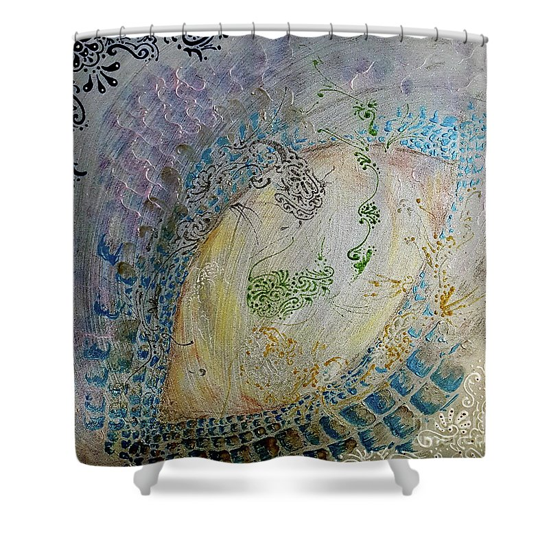 The Other Dragon Shower Curtain featuring the mixed media The Other Dragon by Cheryle Gannaway