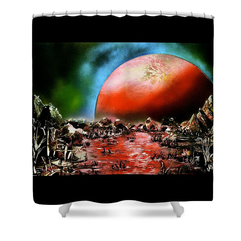 Fantasy Shower Curtain featuring the painting The Other Land by Nandor Molnar