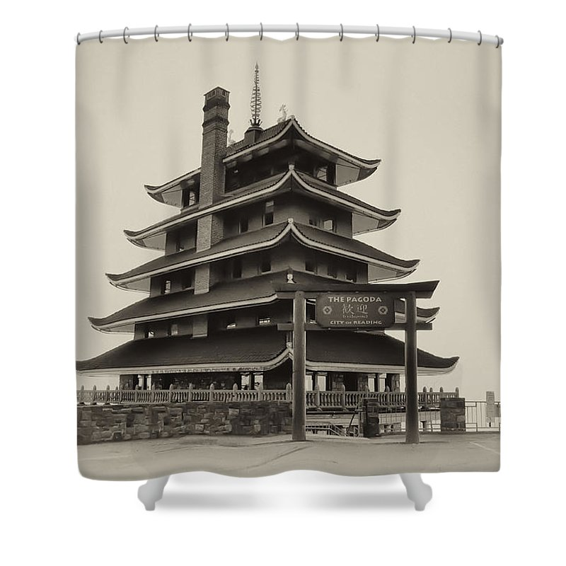 Pagoda Shower Curtain featuring the photograph The Pagoda - Reading Pa. by Bill Cannon