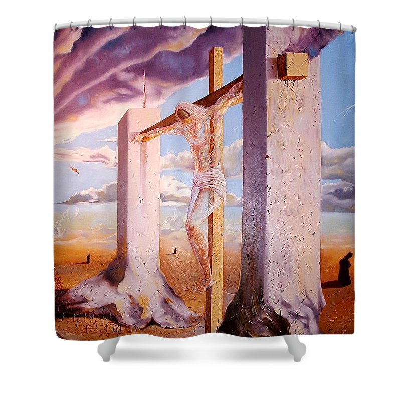 911 Shower Curtain featuring the painting The Pain Holder by Darwin Leon
