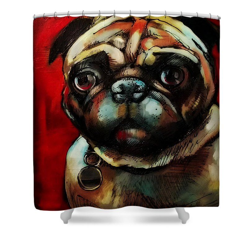 Animals Shower Curtain featuring the painting The Painted Pug by Kristin Lozoya