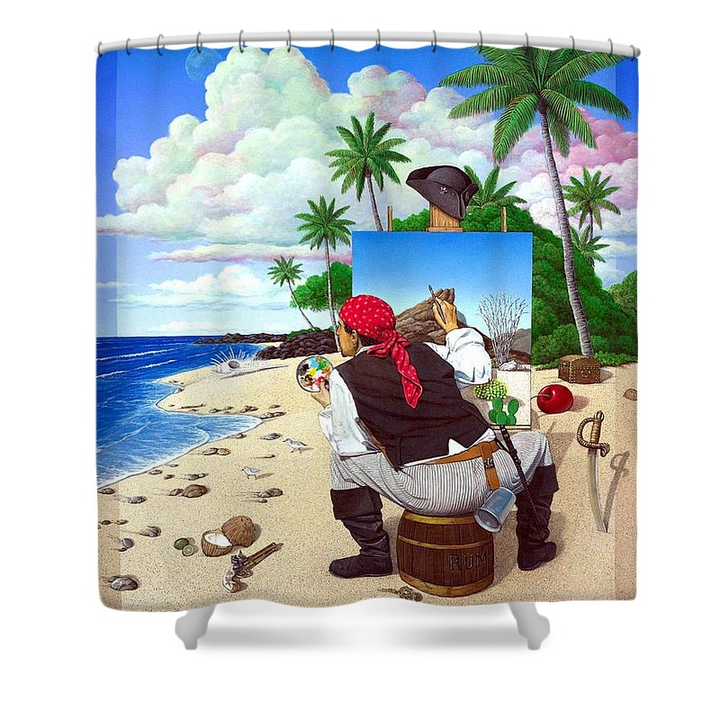 Pirate Shower Curtain featuring the painting The Painting Pirate by Snake Jagger