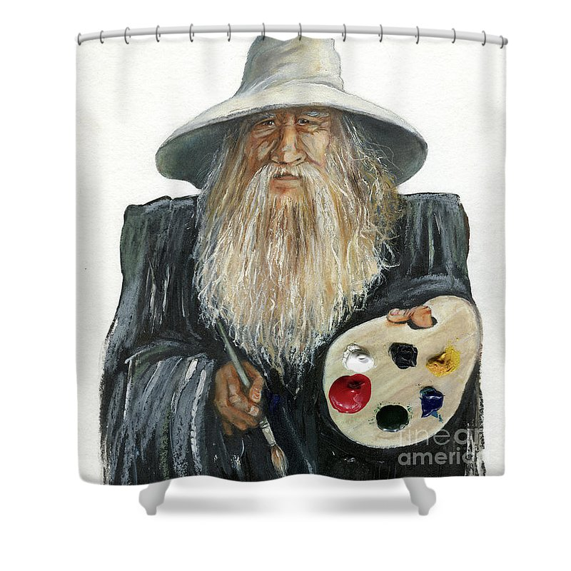 Wizard Shower Curtain featuring the painting The Painting Wizard by J W Baker