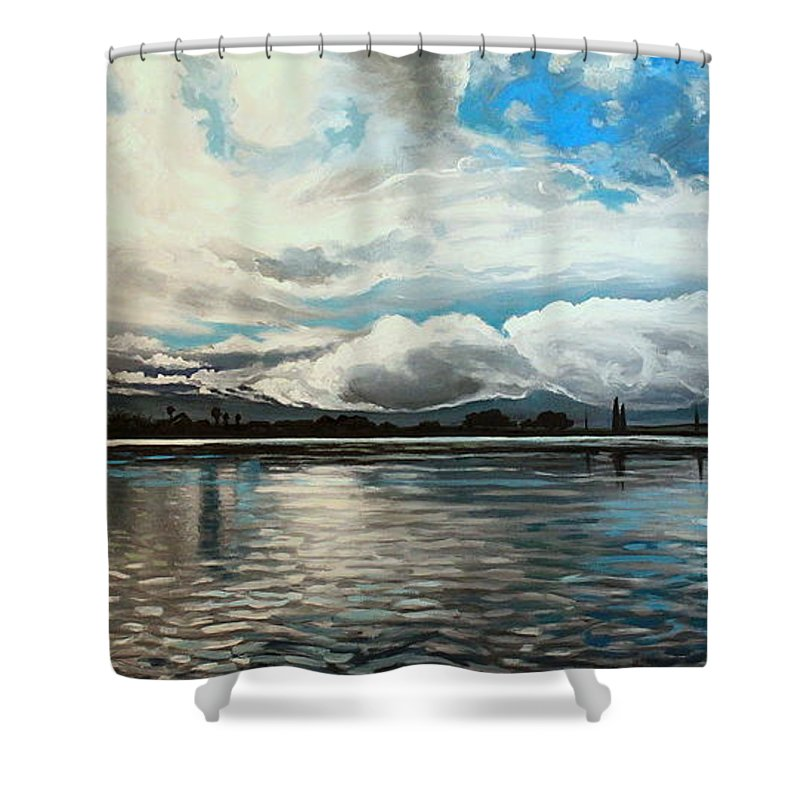 Landscape Shower Curtain featuring the painting The Panoramic Painting by Elizabeth Robinette Tyndall