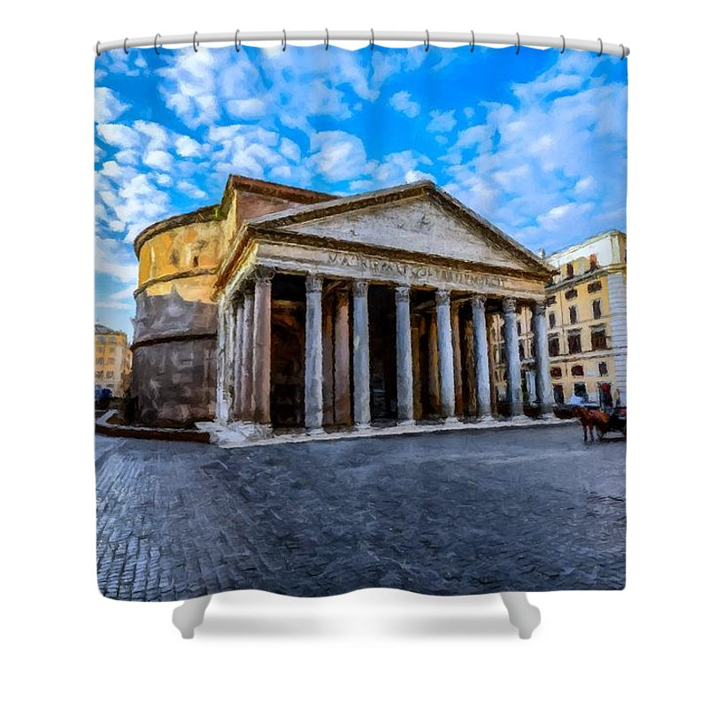 The Pantheon Shower Curtain featuring the painting The Pantheon Rome by David Dehner