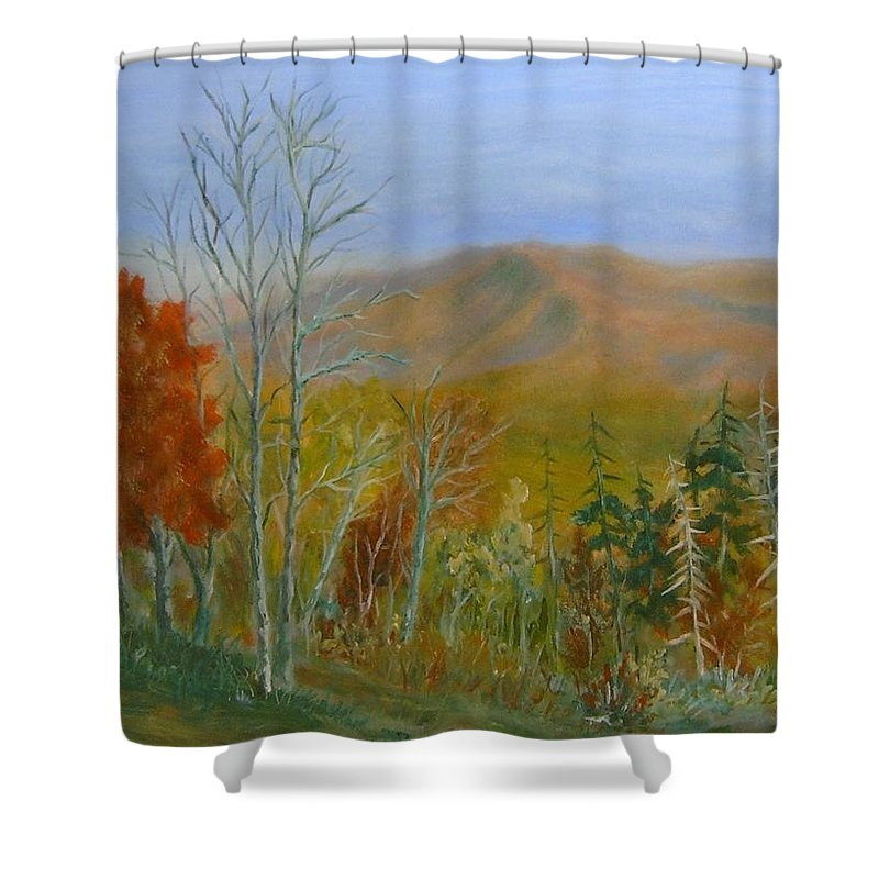 Mountains; Trees; Fall Colors Shower Curtain featuring the painting The Parkway View by Ben Kiger