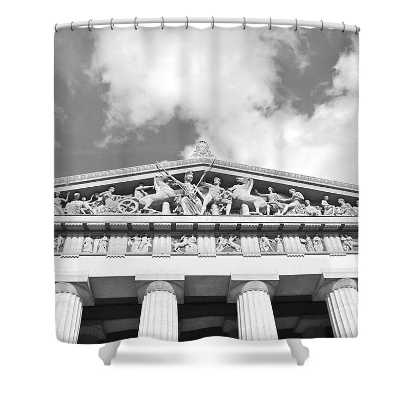 The Parthenon In Nashville Tennessee Black And White 2 Shower Curtain featuring the photograph The Parthenon In Nashville Tennessee Black And White 2 by Lisa Wooten