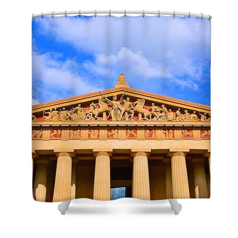 The Parthenon In Nashville Tennessee Shower Curtain featuring the photograph The Parthenon In Nashville Tennessee by Lisa Wooten