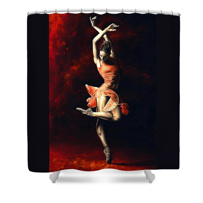Dancer Shower Curtain featuring the painting The Passion of Dance by Richard Young