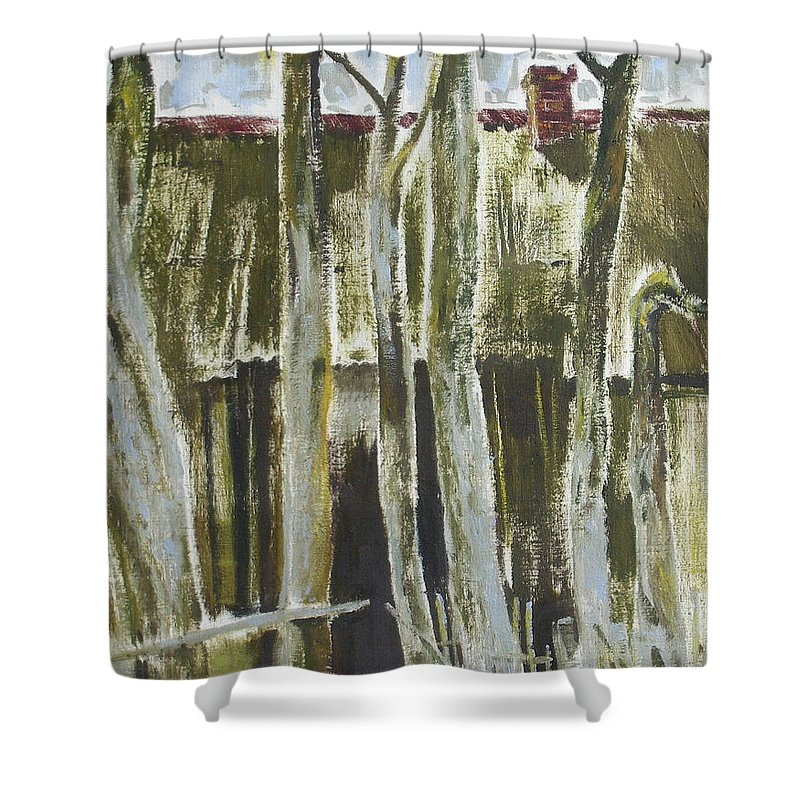 Oil Shower Curtain featuring the painting The Past Space by Sergey Ignatenko