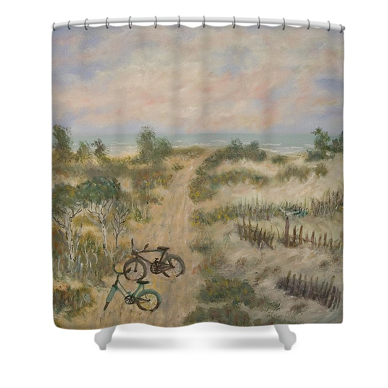 Beach Shower Curtain featuring the painting The Path by Ben Kiger