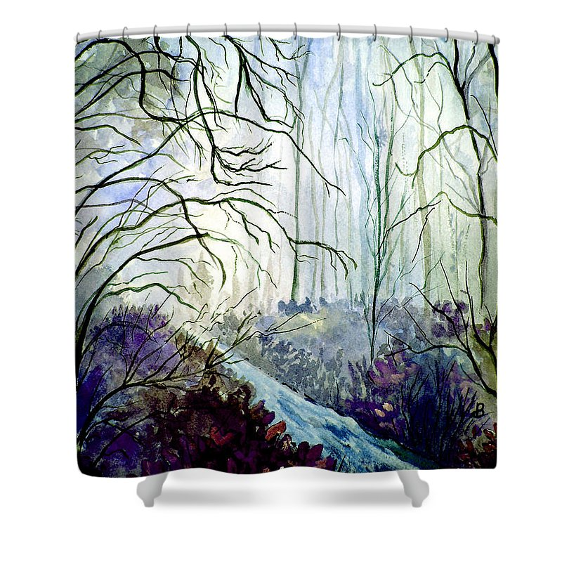 Watercolor Shower Curtain featuring the painting The Path by Brenda Owen