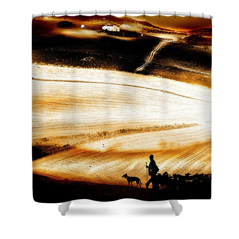 Landscape Shower Curtain featuring the photograph The Path Home by Mal Bray