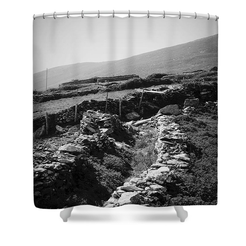 Irish Shower Curtain featuring the photograph The Path To The Beehive Huts In Fahan Ireland by Teresa Mucha