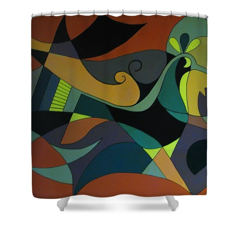 Abstract Shower Curtain featuring the painting The Peacock by Vasilis Bottas