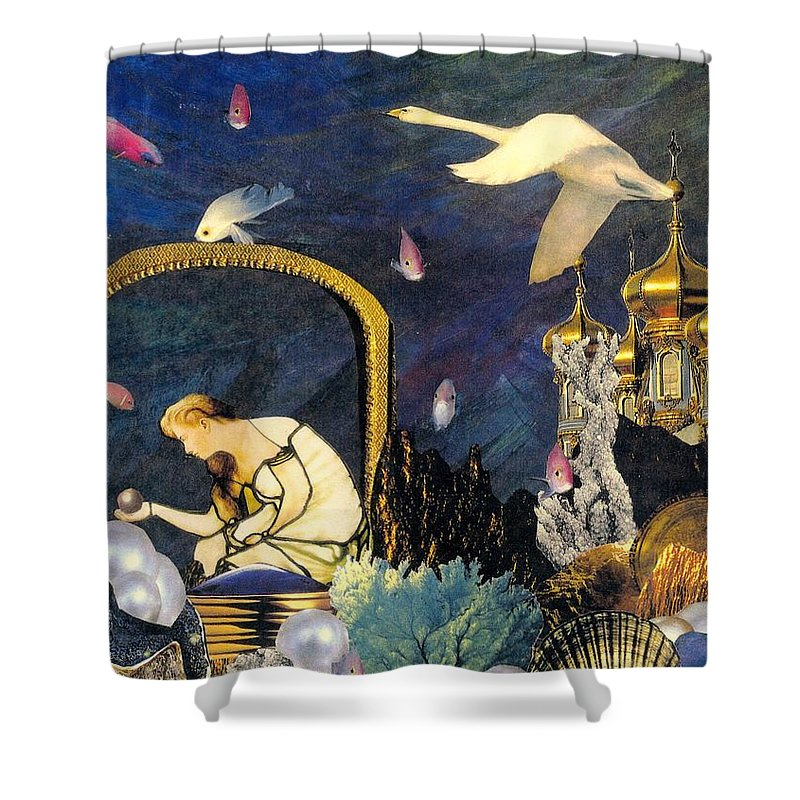 Surealism Shower Curtain featuring the mixed media The Pearl Of Great Price by Gail Kirtz