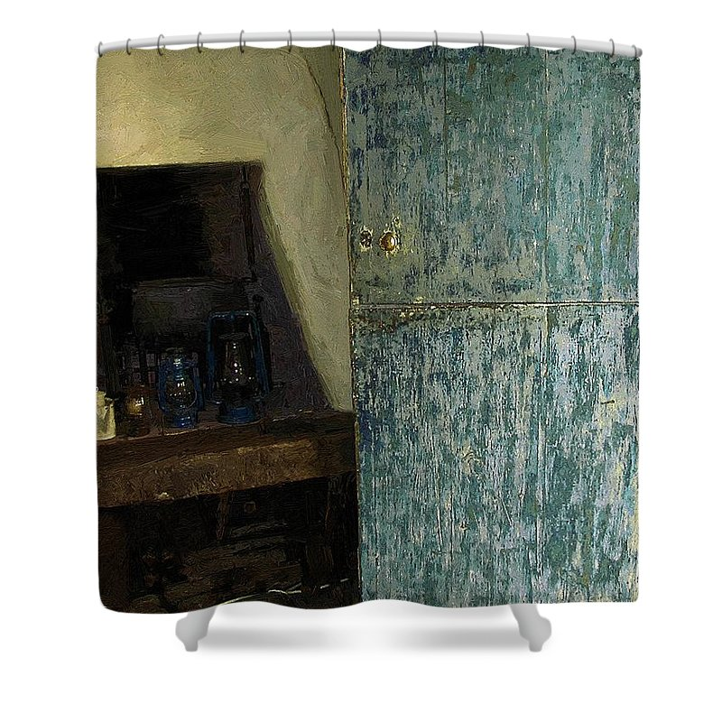 Cookstove Shower Curtain featuring the painting The Peasant's Dwelling by RC DeWinter