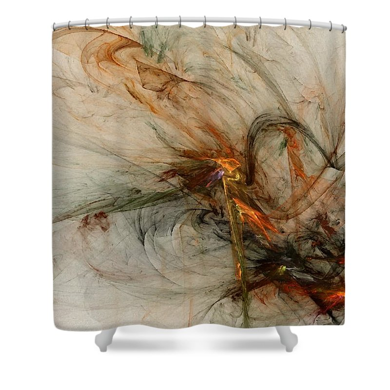 Nonrepresentational Shower Curtain featuring the digital art The Penitent Man - Fractal Art by NirvanaBlues