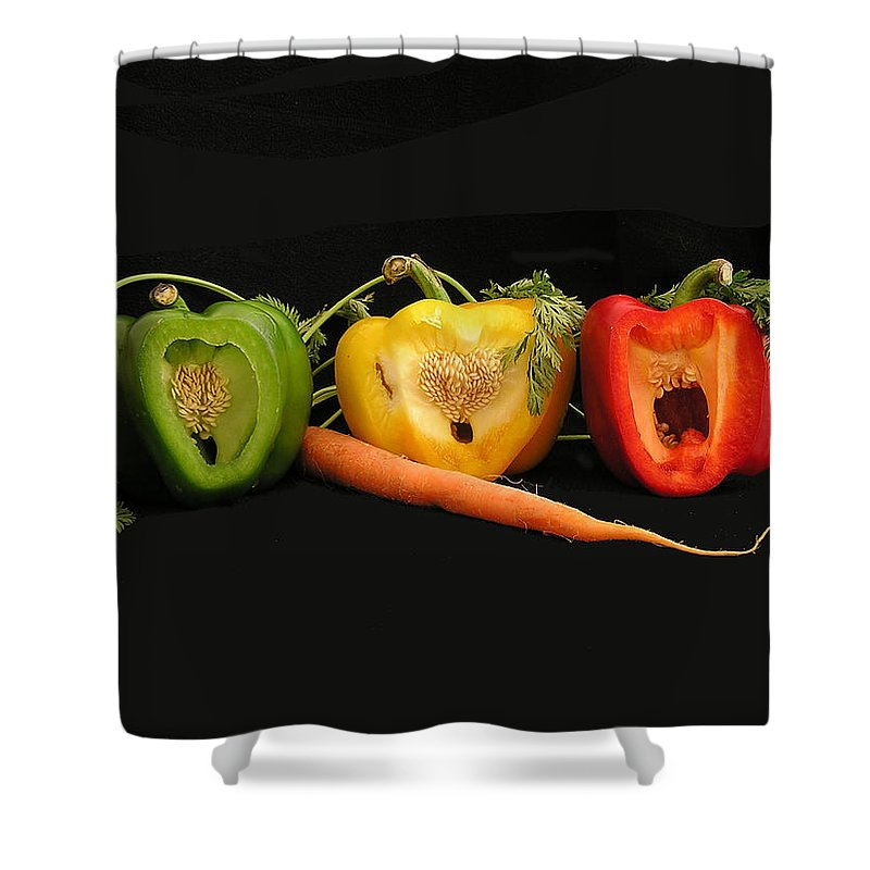 Pepper Shower Curtain featuring the photograph The Pepper Trio by Carol Milisen