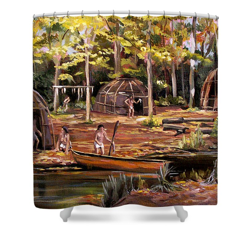Institute Of American Indian Shower Curtain featuring the painting The Pequots by Nancy Griswold