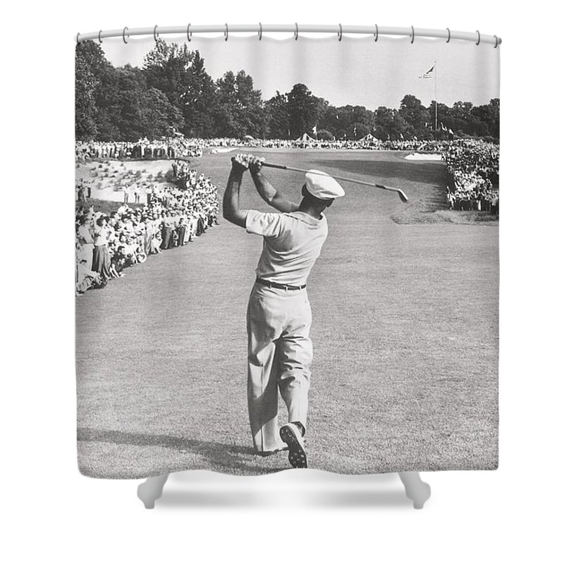 Jack Nicklaus Shower Curtain Featuring The Photograph Perfect Golf Swing Ben Hogan By Peter