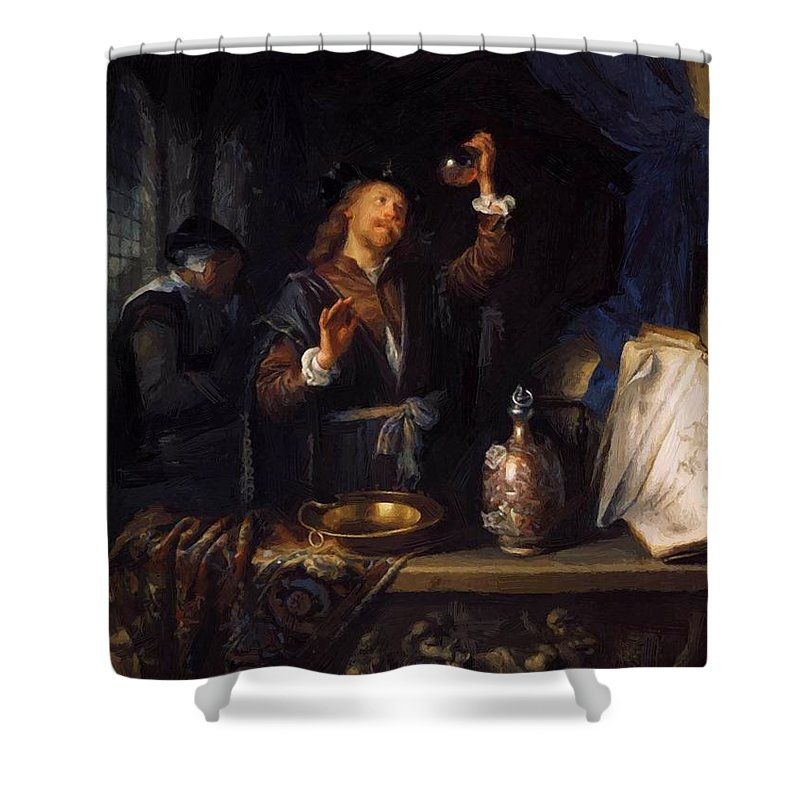 The Shower Curtain featuring the painting The Physician 1653 by Dou Gerrit