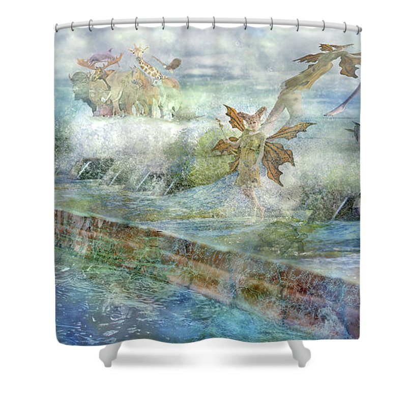 Piano Shower Curtain featuring the digital art The Piano by Betsy Knapp