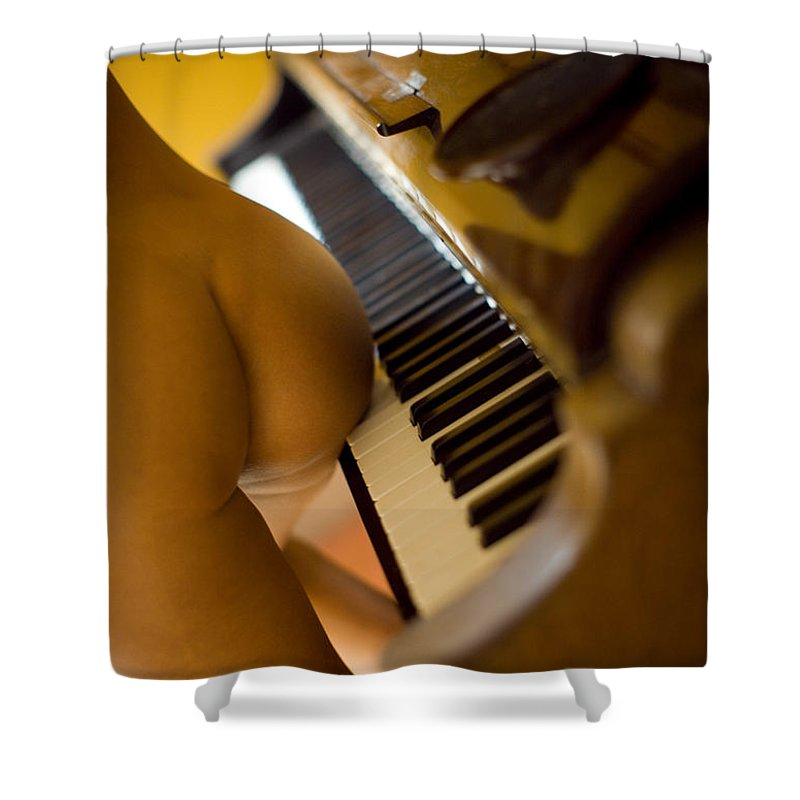 Sensual Shower Curtain featuring the photograph The Piano by Olivier De Rycke
