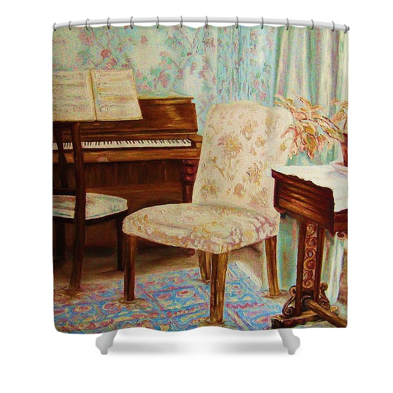 Iimpressionism Shower Curtain featuring the painting The Piano Room by Carole Spandau