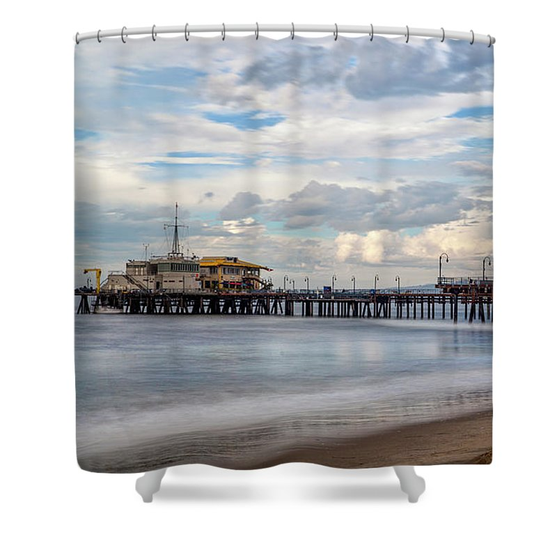Santa Monica Pier Shower Curtain featuring the photograph The Pier On A Cloudy Day by Gene Parks