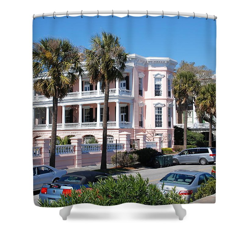 Photography Shower Curtain featuring the photograph The Pink Battery House by Susanne Van Hulst