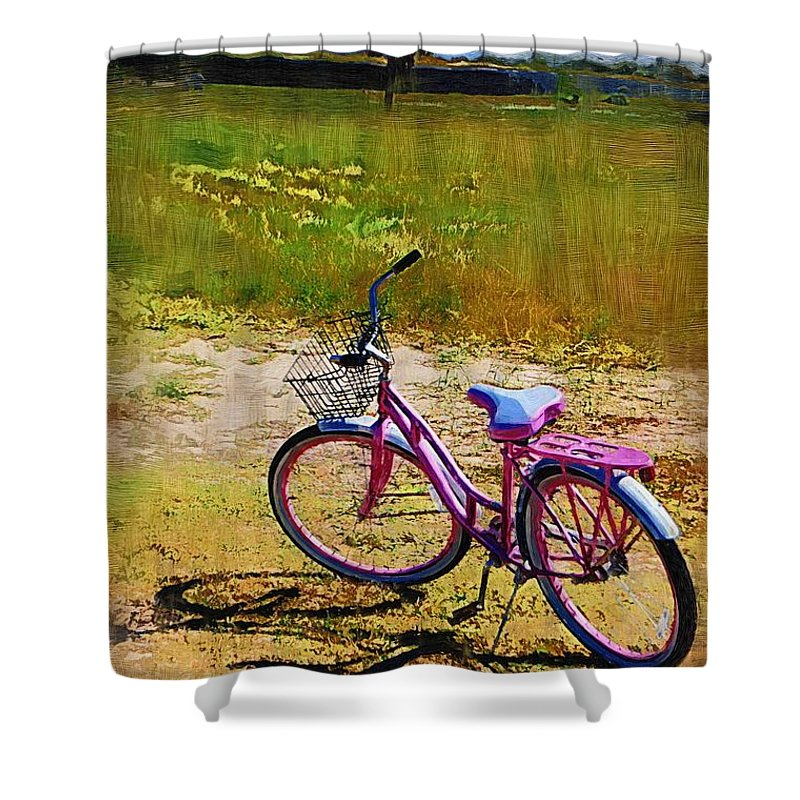 Shower Curtain featuring the photograph The Pink Bike by Donna Bentley
