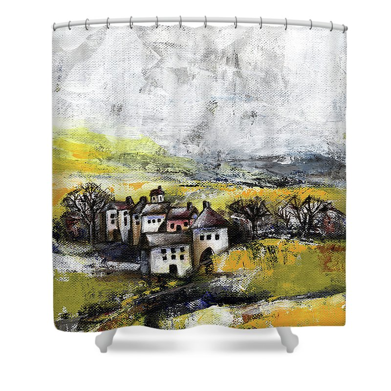 Landscape Shower Curtain featuring the painting The Pink House by Aniko Hencz