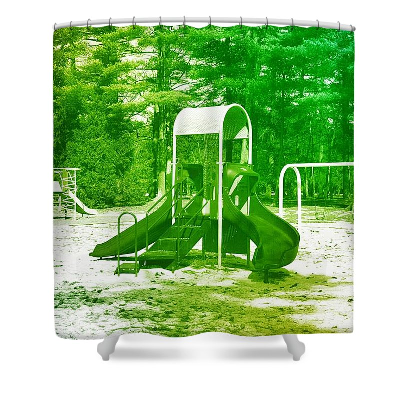 Playgrounds Shower Curtain featuring the photograph The Playground I - Ocean County Park by Angie Tirado